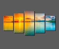 Sunset-Ocean-View-Framed-Large-HD-Canvas-Print-Painting ...