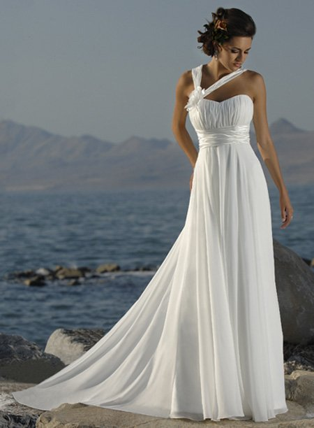 New Halter Straps Handmade Flower Chiffon Beach White Ivory Greece style Wedding Dresses White