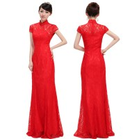 Free Shipping Fancy Red Lace Evening Gown Floor Length ...