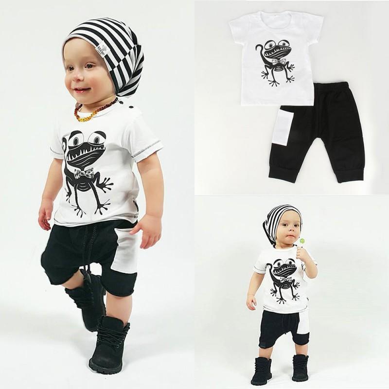 ᓂ2017 ropa del bebé casual Sets manga corta Camisetas Tees Tops + ...