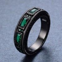 Vintage Mens Ring Emerald Zircon 10KT Black Gold Filled ...