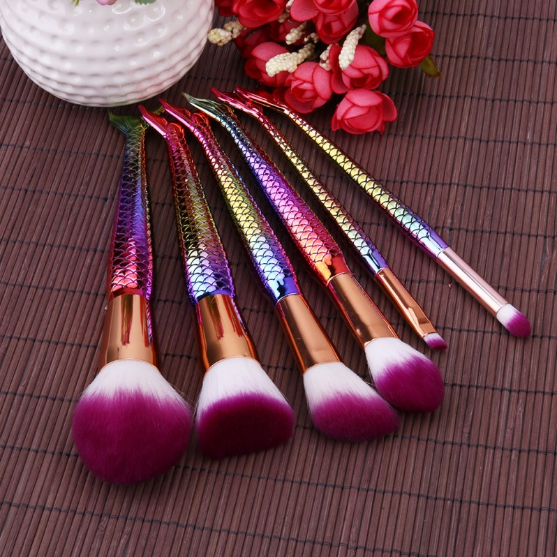 6PCS Fashion Mermaid Makeup Brush Synthetic Hair Power Foundation Cosmetic Brush Tools For Beauty Make Up Kits