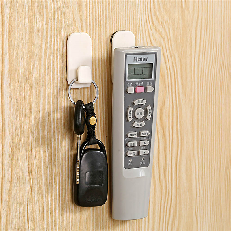 68b5677e ... 4pcs Self Adhesive Sticky Hooks Wall Storage Hanger For TV Air-con  Remote Control New