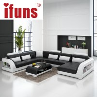 IFUNS Large U shaped sofa white cow leather couch living ...