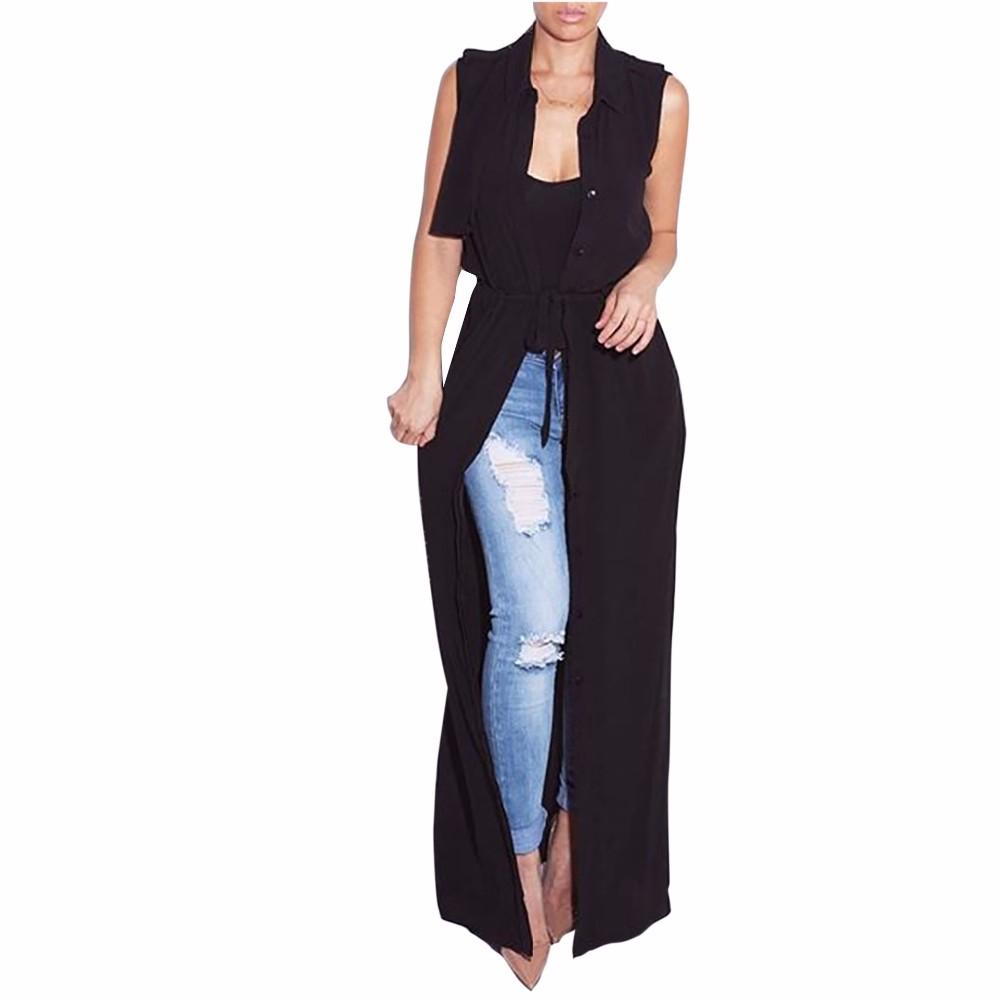 Style européen sexy en mousseline de soie cardigan veste sans manches gilet  manteau ceinture de mode boutons cardigan veste 7b7a99ee8bf2