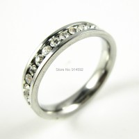 316L Stainless Steel Clear CZ Inlay Engagement Wedding ...
