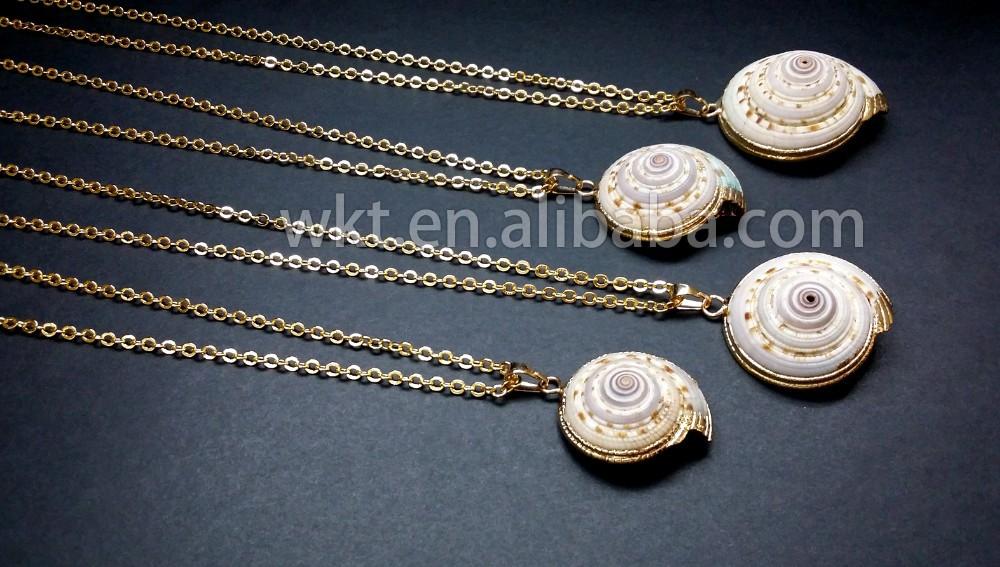 6b4d40109b71 WT-JN001 natural al por mayor declaración primas mar Shell trompeta collar  con 24 K oro sumergido cadena collar