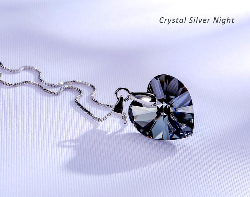 8b7f45e6fffa 2 unids lote Baffin romántico corazón collares y colgantes Cristal de  Swarovski Elements para mujer color plata joyería regalo del día de madre