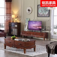 American country wood coffee table TV cabinet combination ...