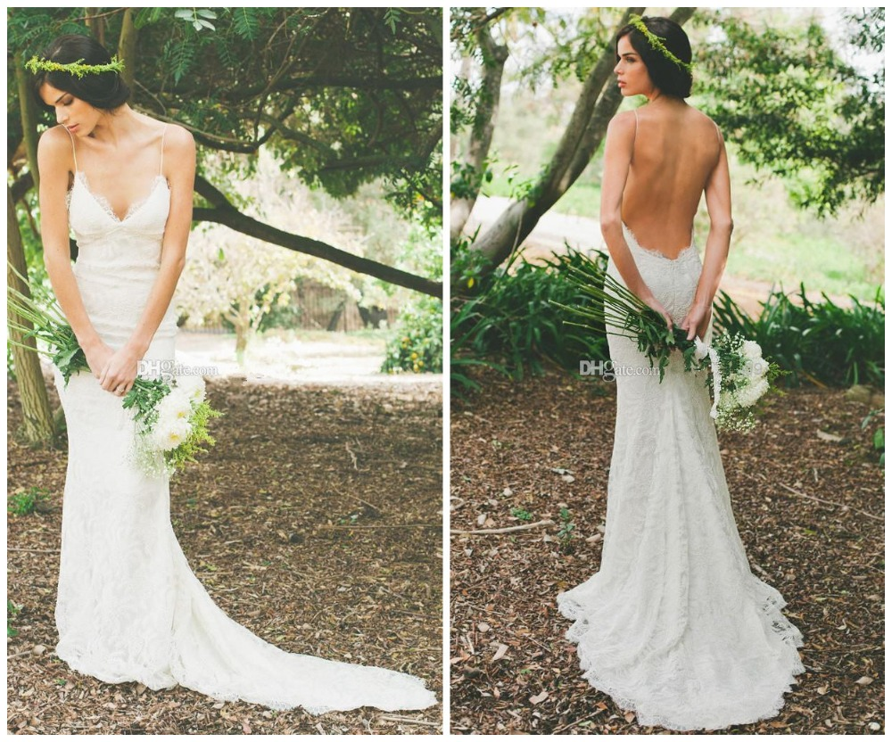 Sexy Open Back With Zipper Beach Wedding Dress Mermaid