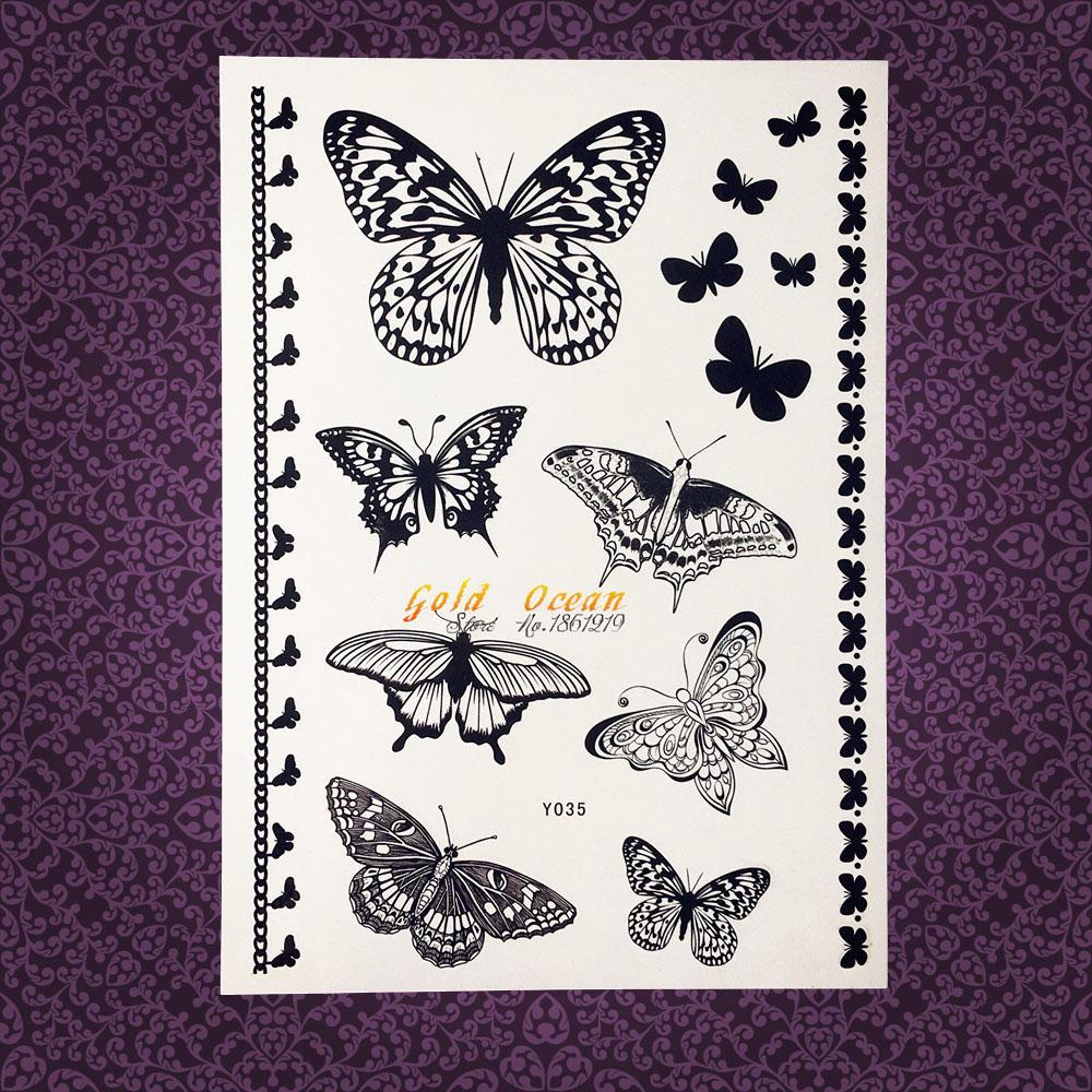 Ä Tanche Au Henn Noir Temporaire Tatouage Papillon Oit Faux Flash Transfert Pour Enfants Corps Art Bras W679