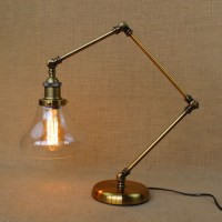 American Style RH Vintage Glass Shade Table Lamp Bedside ...
