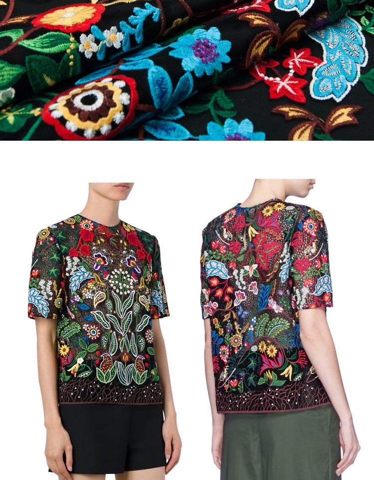 ⃝Negro malla de alta costura tela de moda, estilo de moda, bordado ...