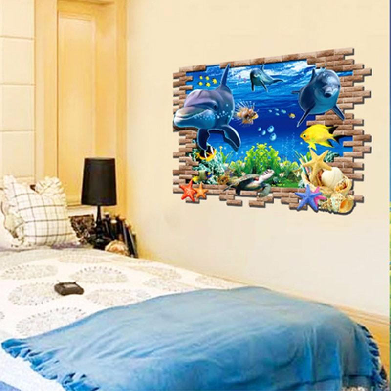 ᗗ3D Adhesivos de pared el mundo subacuático dormitorio delfín ...