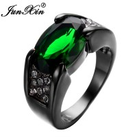 JUNXIN Emerald Male Female Ring Black Gold Filled Vintage
