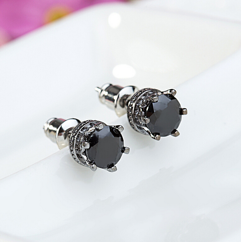 Fashion Rose Gold Plated CZ Diamond Earrings Stud for Men