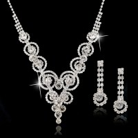 Silver-Plated-Bridal-Jewelry-Sets-Statement-Necklace-And ...