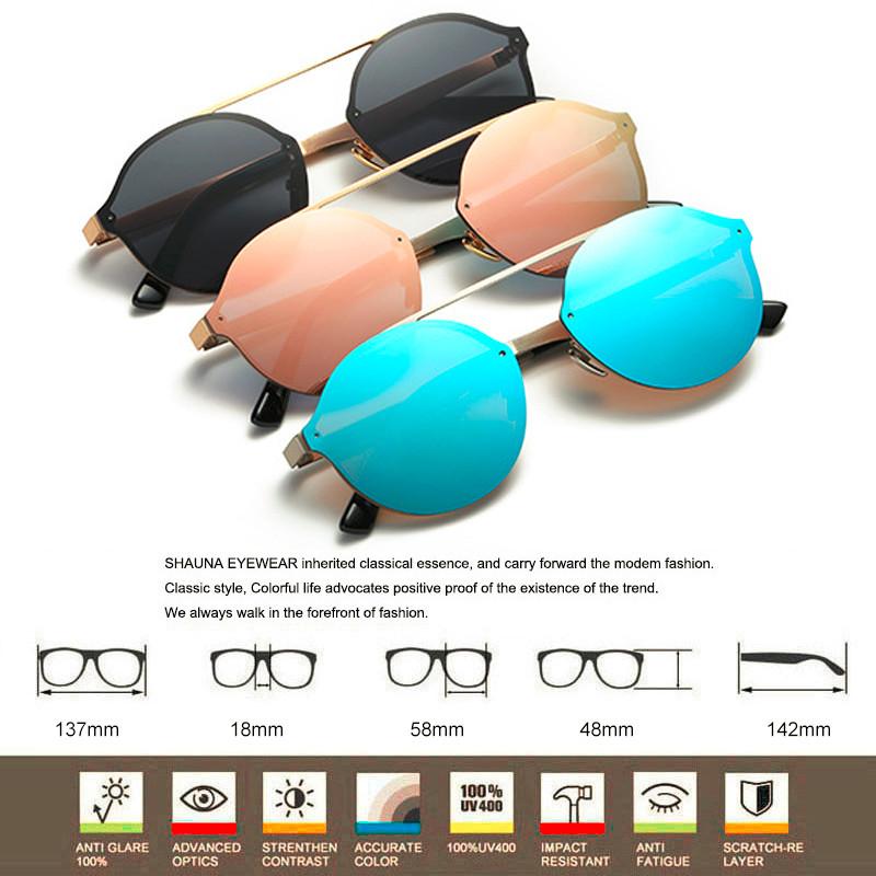 dc5244ba69 SHAUNA Rétro Femmes Sans Monture Roun lunettes de Soleil Marque ...