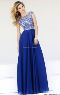 New-Style-2015-Sexy-Blue-Long-Prom-Dresses-A-Line-Beaded ...