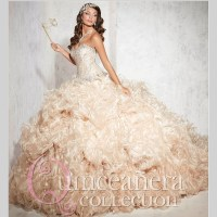 2015 Dazzling Pleat Champagne Quinceanera Dresses Sweet 16 ...