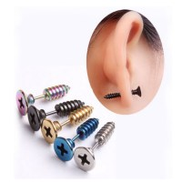 Punk Style Stainless Steel 5 Colors Stud Earrings Men's ...