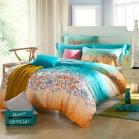 Tribal Print Bedding. Teal Blue And Orange Tribal Floral