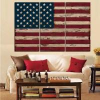 3Panel American USA United States of America Flag Canvas ...