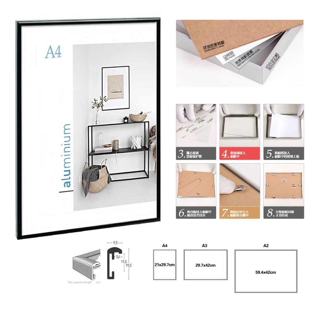 Minimalista clásico aluminio A4 A3 marco del cartel para pared ...