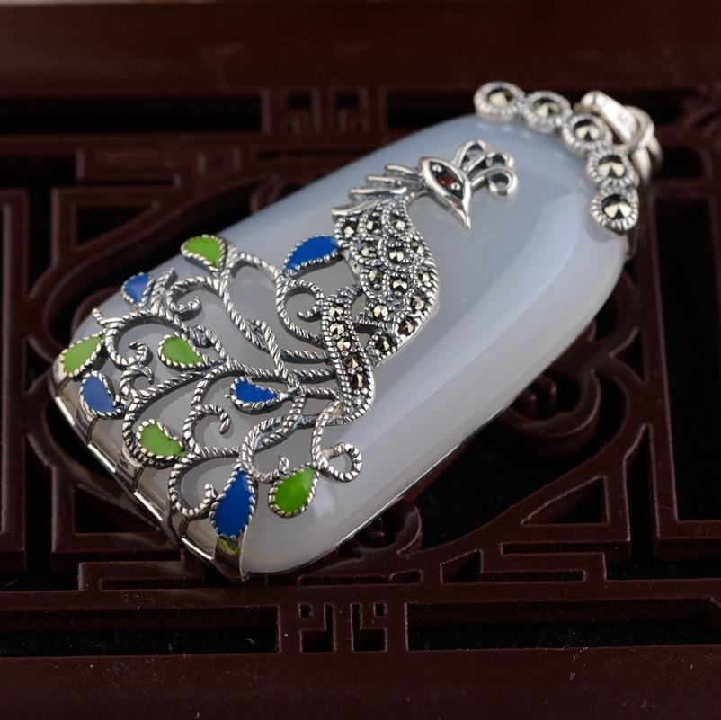 ΞS925 plata con incrustaciones naturales colgante cordón marcasita ...