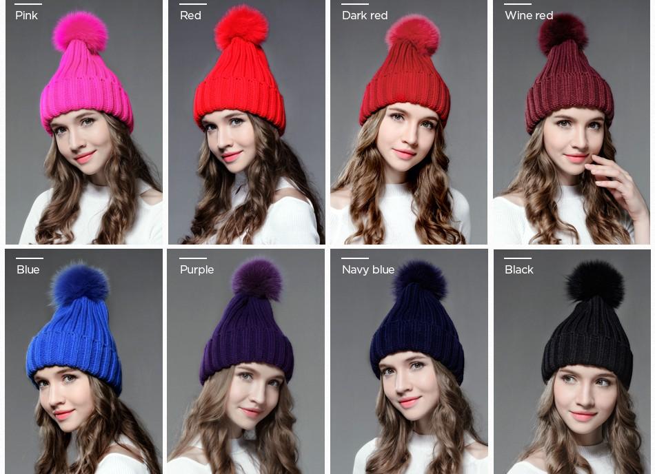 cafabcb05cd Mosnow Fashion Winter Women S Hats Fox Fur Pom Poms Vogue Casual High  Quality Knitted Warm Winter Fur Hats Skullies Beanies