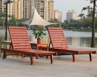 Rattan Yixuan outdoor wood deck chair recliner lounge ...