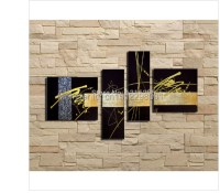 handmade 4 pcs/set black gold silver modern abstract wall ...