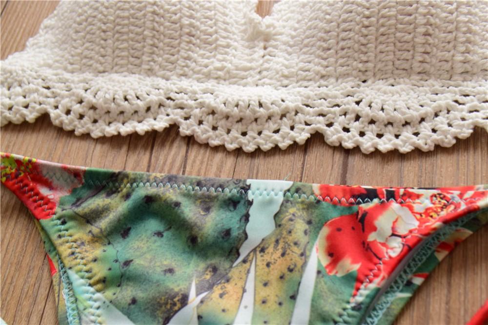 Sexy Push Up Halter Crochet Bikini Set Thong Swimwear Women