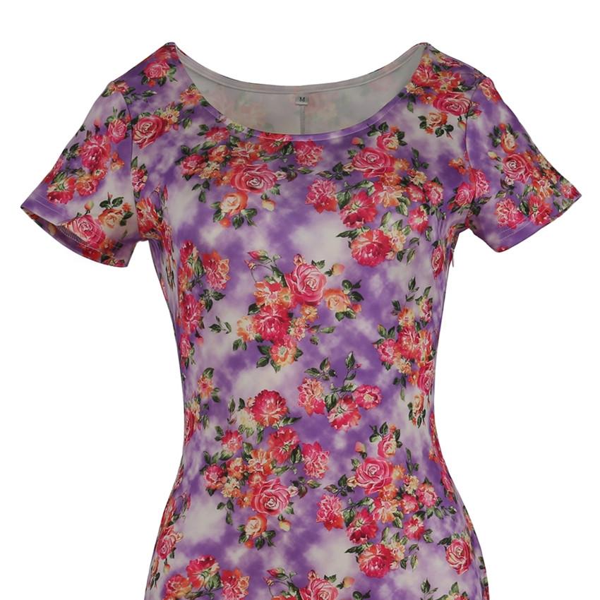 ᗑ2017 verano mujeres elegantes cóctel manga corta floral Vestidos ...