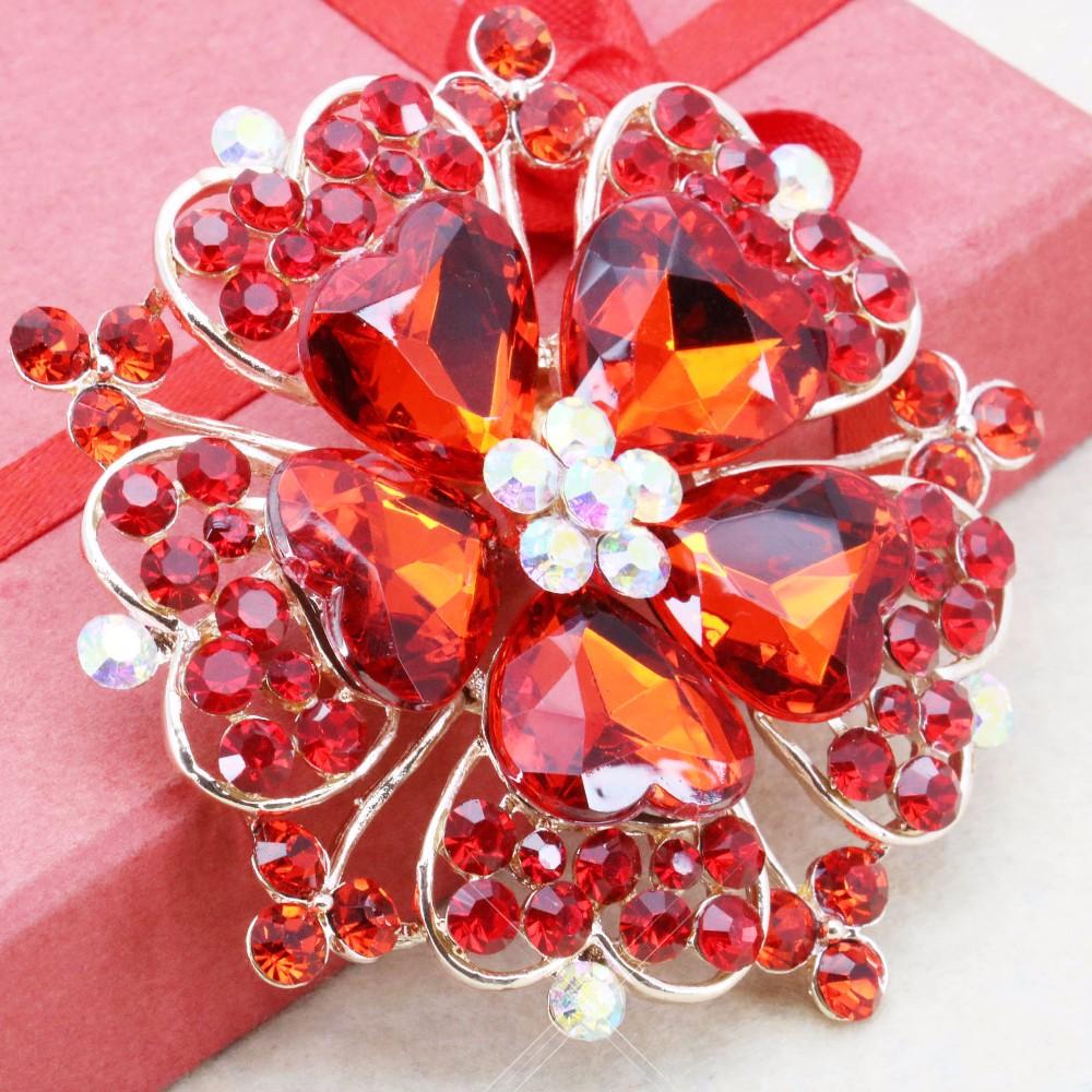 ΞAccessoire Artisanat Rouge Coeur Strass Broche De Mariage Bijoux En ... 9abd615c5b9