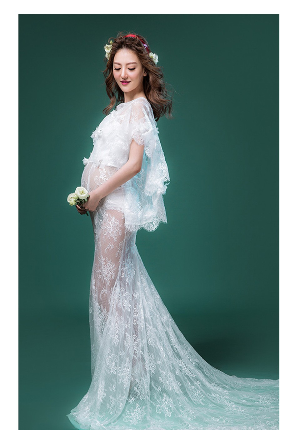 ΞSMDPPWDBB Maternity Photography Props Maternity Dresses Lace White ...