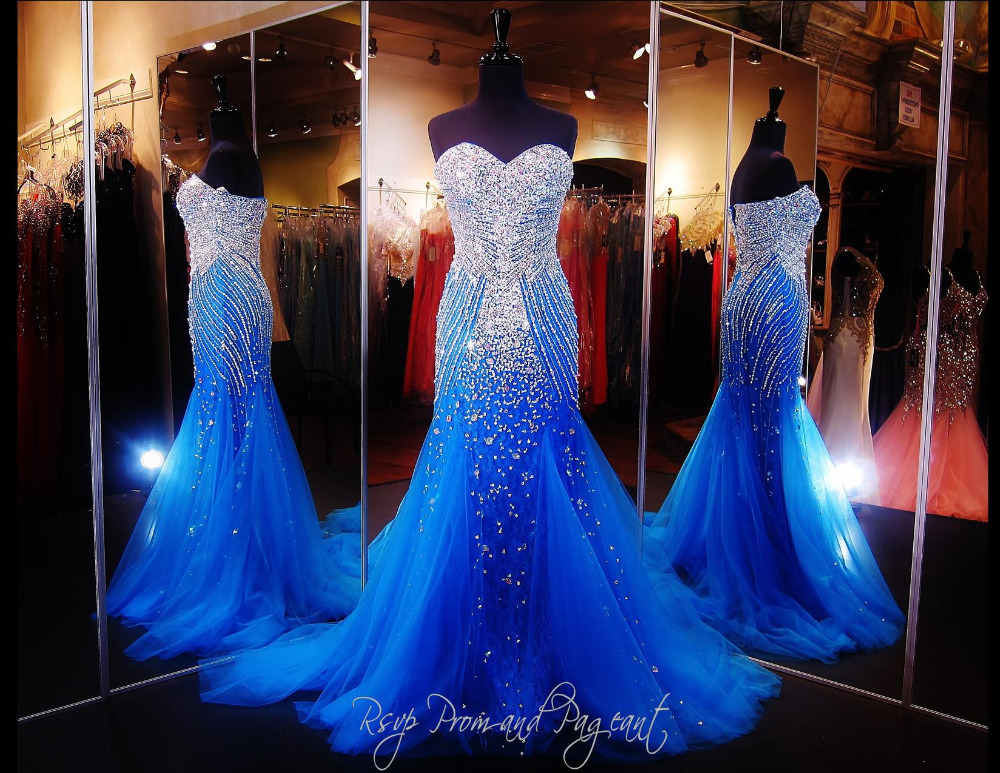 Hot Sale Royal Blue Mermaid Long Evening Dress Custom Made