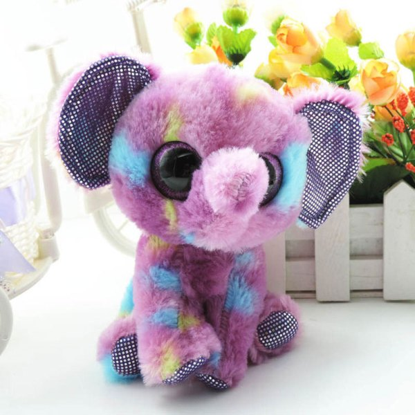1 Piece 6'' Cute Small Plush Elephant Beanie Boos Ellie Soft Dolls Big Eyes Stuffed Animals
