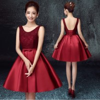 Short Dark Red Bridesmaid Dresses - Discount Wedding Dresses
