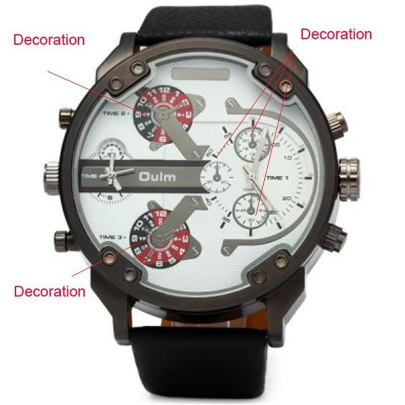 0115f60c7b2 OULM 3548 Dos Homens Autênticos 5.5 cm Grande Dial Relógios Pulseira De  Couro Dual Time Japão movt Relógio de Quartzo Relogio masculino Grande Marca