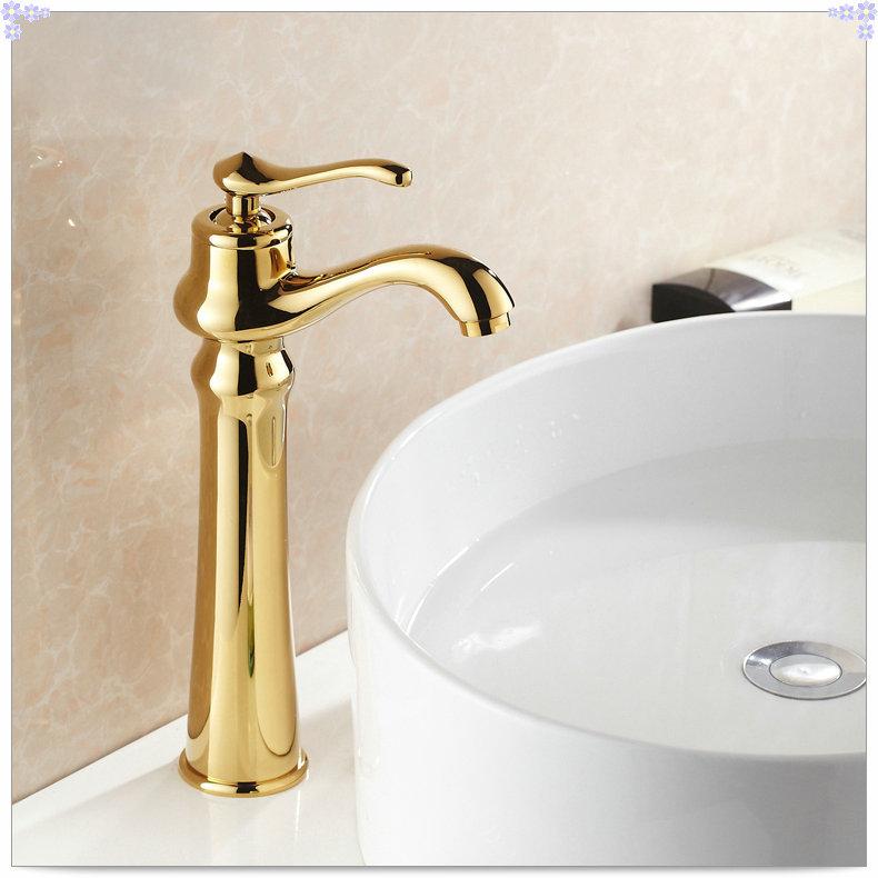 Gold Finish Bathroom Countertop Basin Faucet Single Lever Sink Mixer Tap sink bath room goldin
