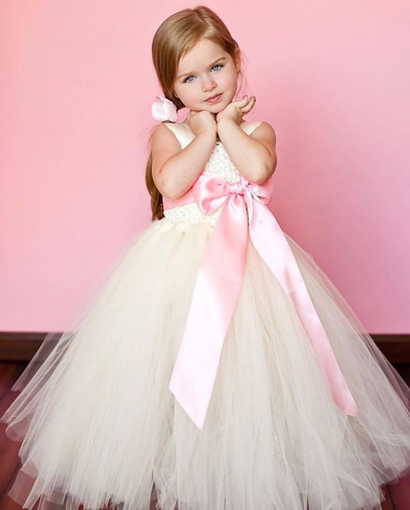 Ropa 2018 niños 12 años arco tul blanco vestido del tutú del bebé ...