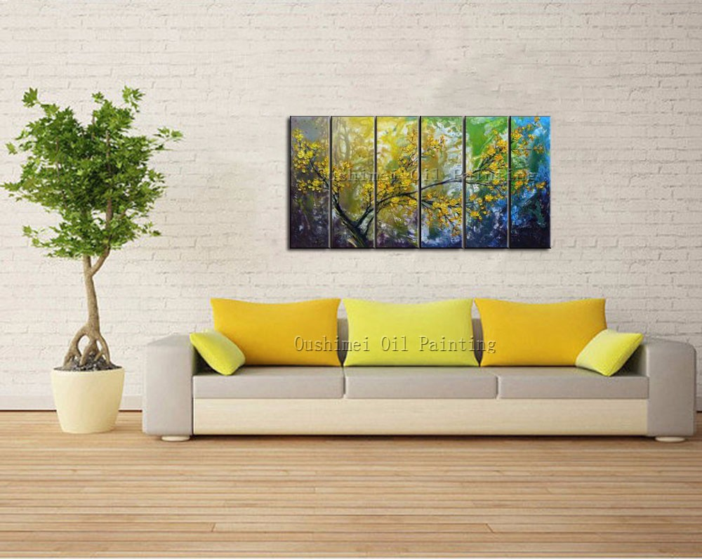 ₪Artist Handmade Yellow Cherry Blossoms Oil Painting On Canvas ...