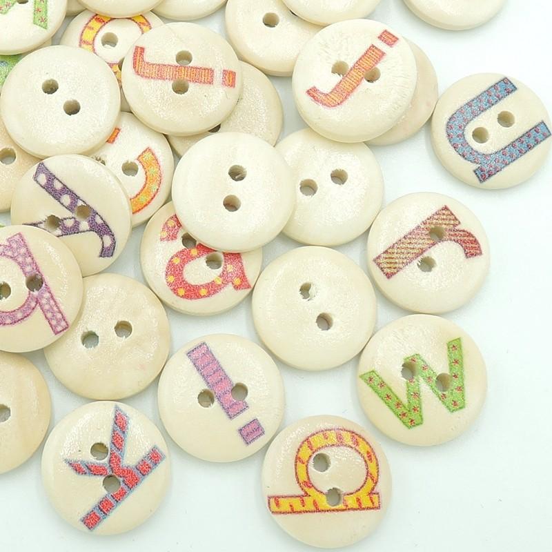 ᗕ100 unids 15mm imprimir carta inglés madera patrón Botones Costura ...