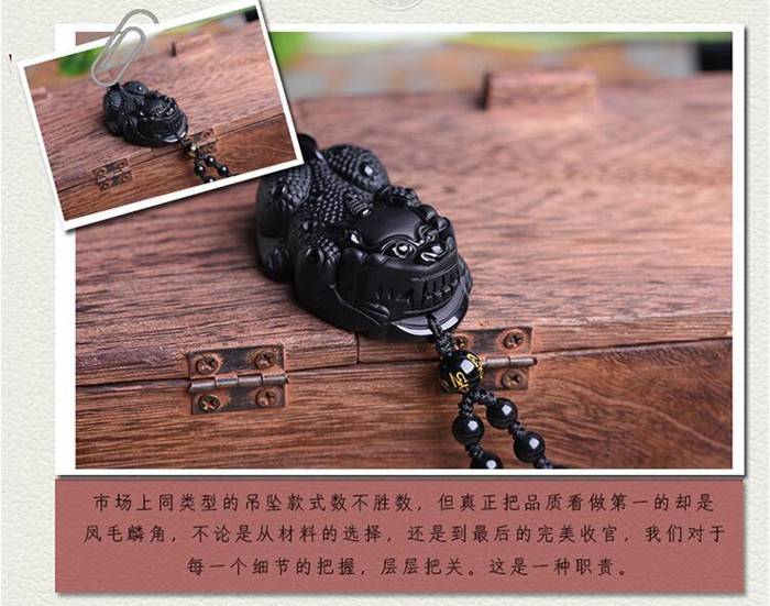 Sculpté à la main Authentique Noir Onyx Pierre Chinois Pendentif Amulette Lady Bug Fleur