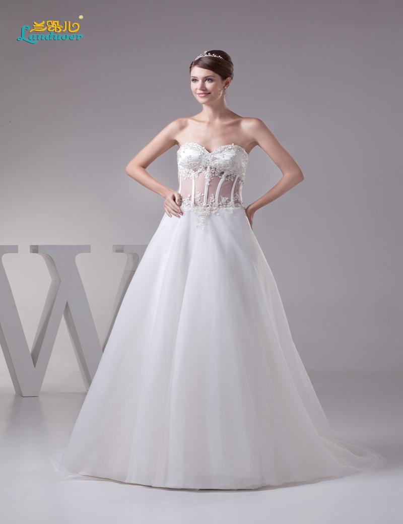 Elegant Princess A line Corset Bodice Wedding Dresses 2016