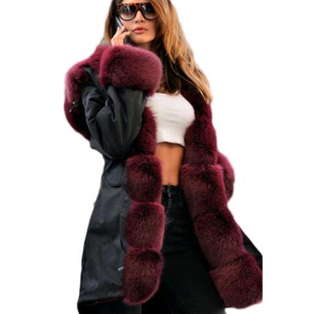 Марка Американский Военный Камуфляж Армия Куртка С Длинным Женщины Военная Пальто с Толщиной Реального Сага Лиса Меховой воротник Ватные Куртки