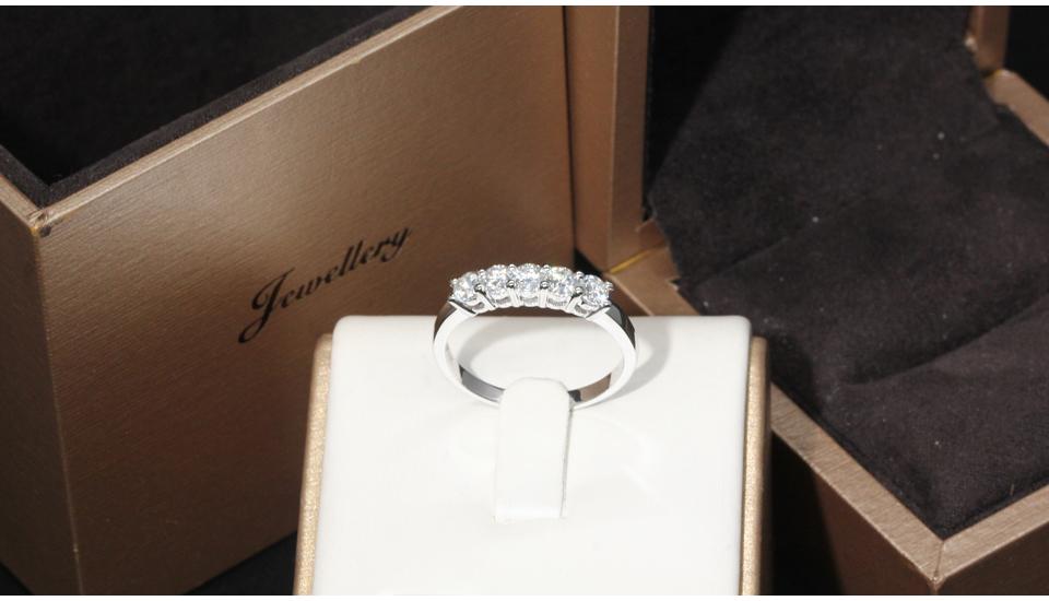 e0aa88a7aec4 ٩( ‿ )۶EDI 5 piedra anillo de bodas de diamante 9 K oro blanco ...