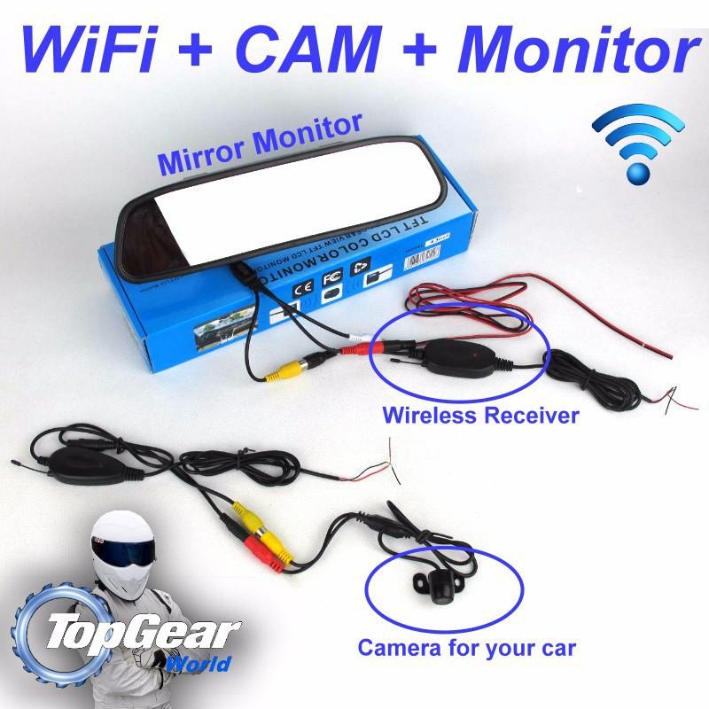 appareil photo sp cial de voiture sans fil signal miroir moniteur 3in1 diy facile. Black Bedroom Furniture Sets. Home Design Ideas