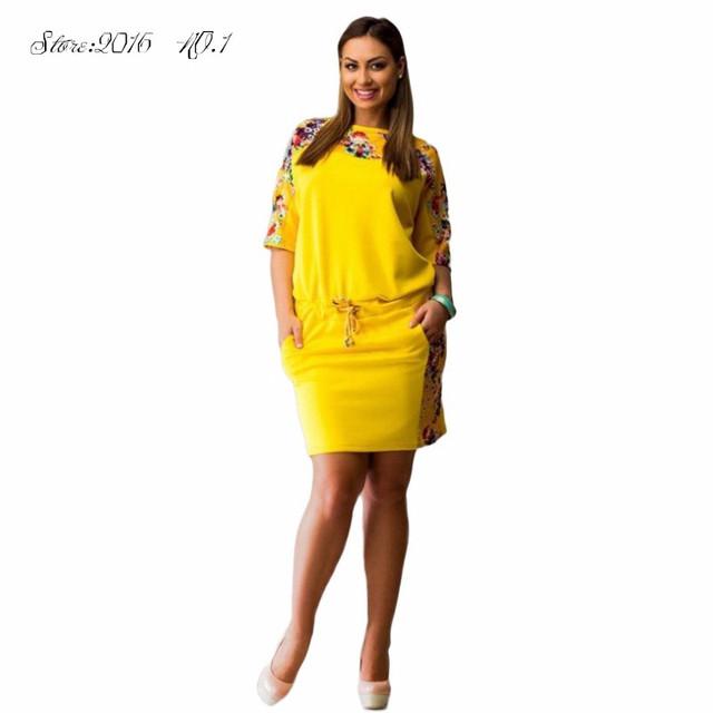 Горячая Уютный Женщины Lady Dress Цветочные Половина Рукава Вечер Плюс Размер Dress Vestidos L-6XL